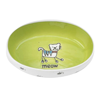 Petrageous Silly Kitty Ceramic Cat Bowl Oval Lime 16cm image