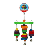 Cheeky Bird Hanging Tri-Bell Wooden Bird Toy Medium image