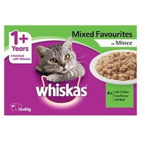 Whiskas Favourites Wet Cat Food Mixed Mince Pack 85g x 12  image
