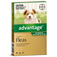 Advantage Small Dog 0-4kg Green Spot On Flea Treatment - 3 Sizes image