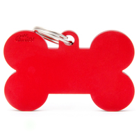 My Family Basic Bone Pet Tag Collar Accessory Red - 3 Sizes image