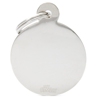 My Family Basic Circle Pet Tag Collar Accessory Chromed - 2 Sizes image