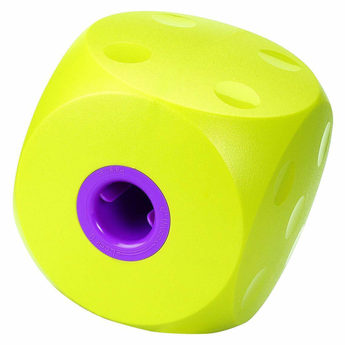 Buster Cube Interactive Dog Treat Dispenser Purple Lime Large