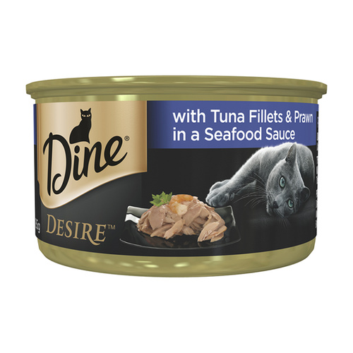Dine Desire Tuna Fillets Prawn in Seafood Sauce 6 x 85g Cat Food