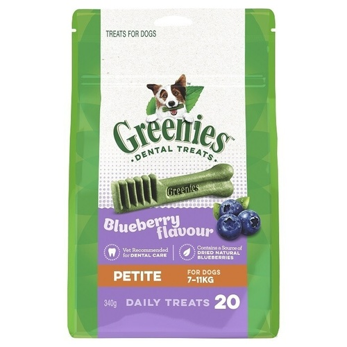 Greenies Blueberry Flavour Petite Dogs Dental Treats 7-11kg 340g